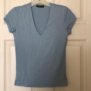 Dusty Blue Stretch V neck Shirt